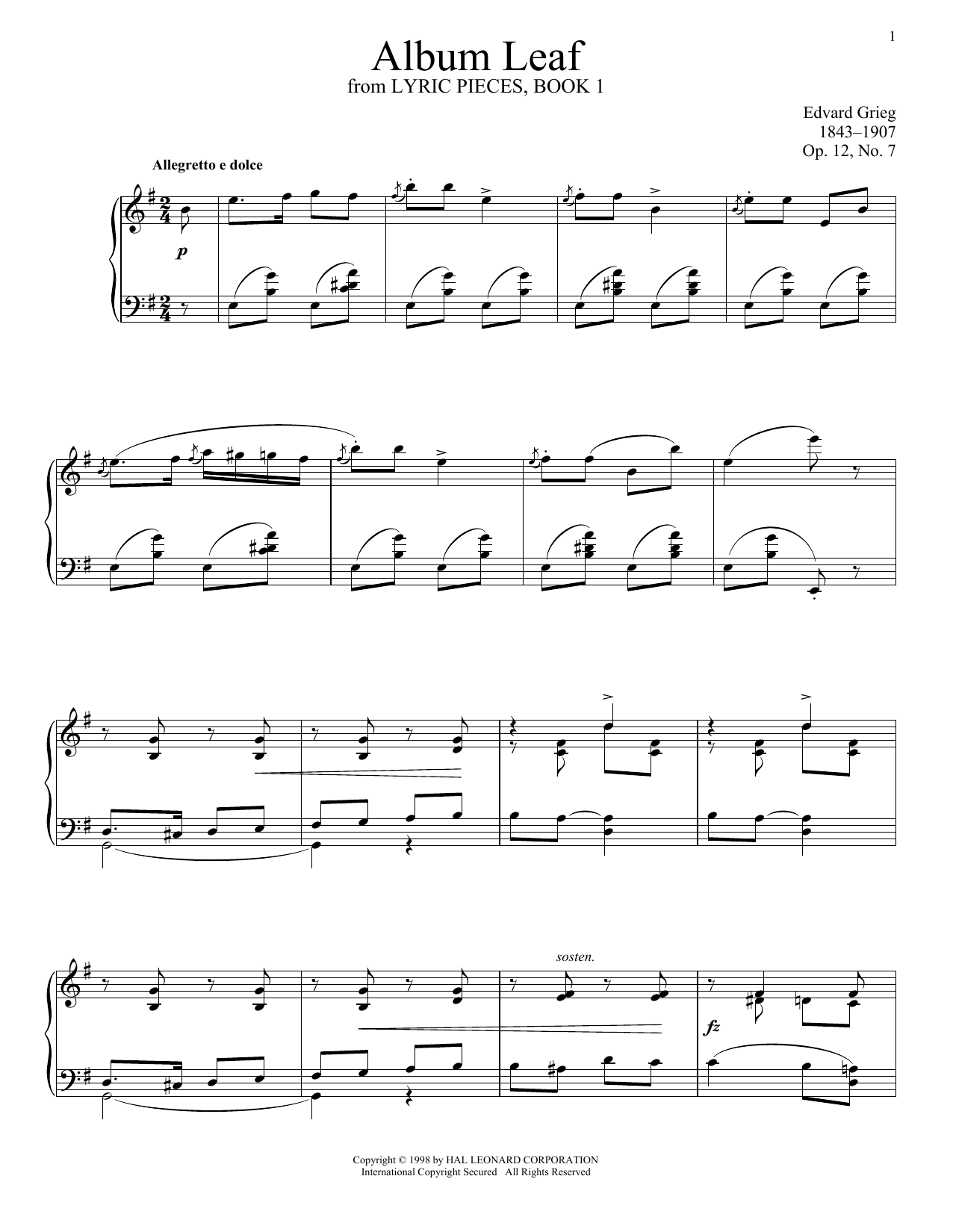 Edvard Grieg Album Leaf, Op. 12, No. 7 sheet music notes and chords. Download Printable PDF.
