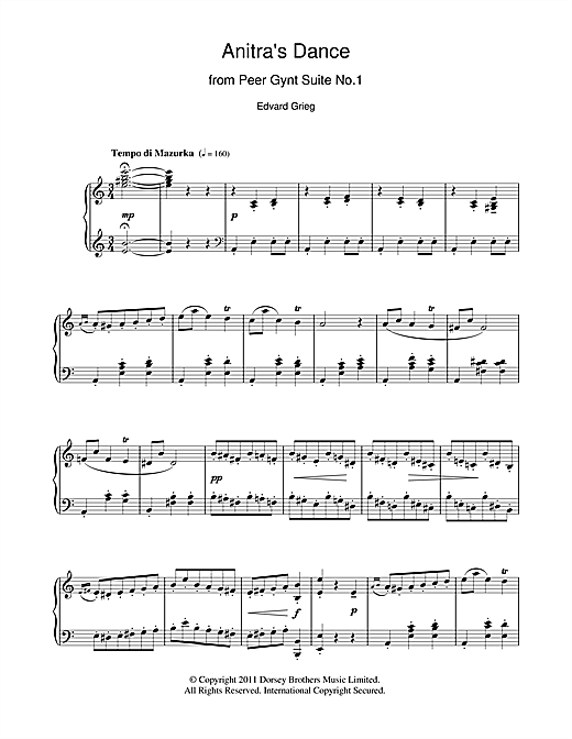 Edvard Grieg Anitra's Dance (from Peer Gynt) sheet music notes and chords
