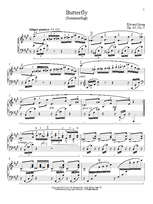 Edvard Grieg Butterfly (from 'Lyric Pieces Op. 43') sheet music notes and chords. Download Printable PDF.
