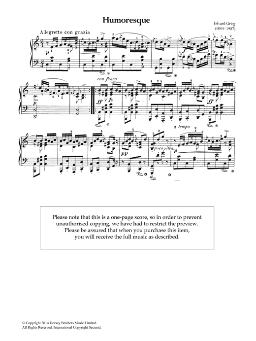 Edvard Grieg Humoresque sheet music notes and chords. Download Printable PDF.