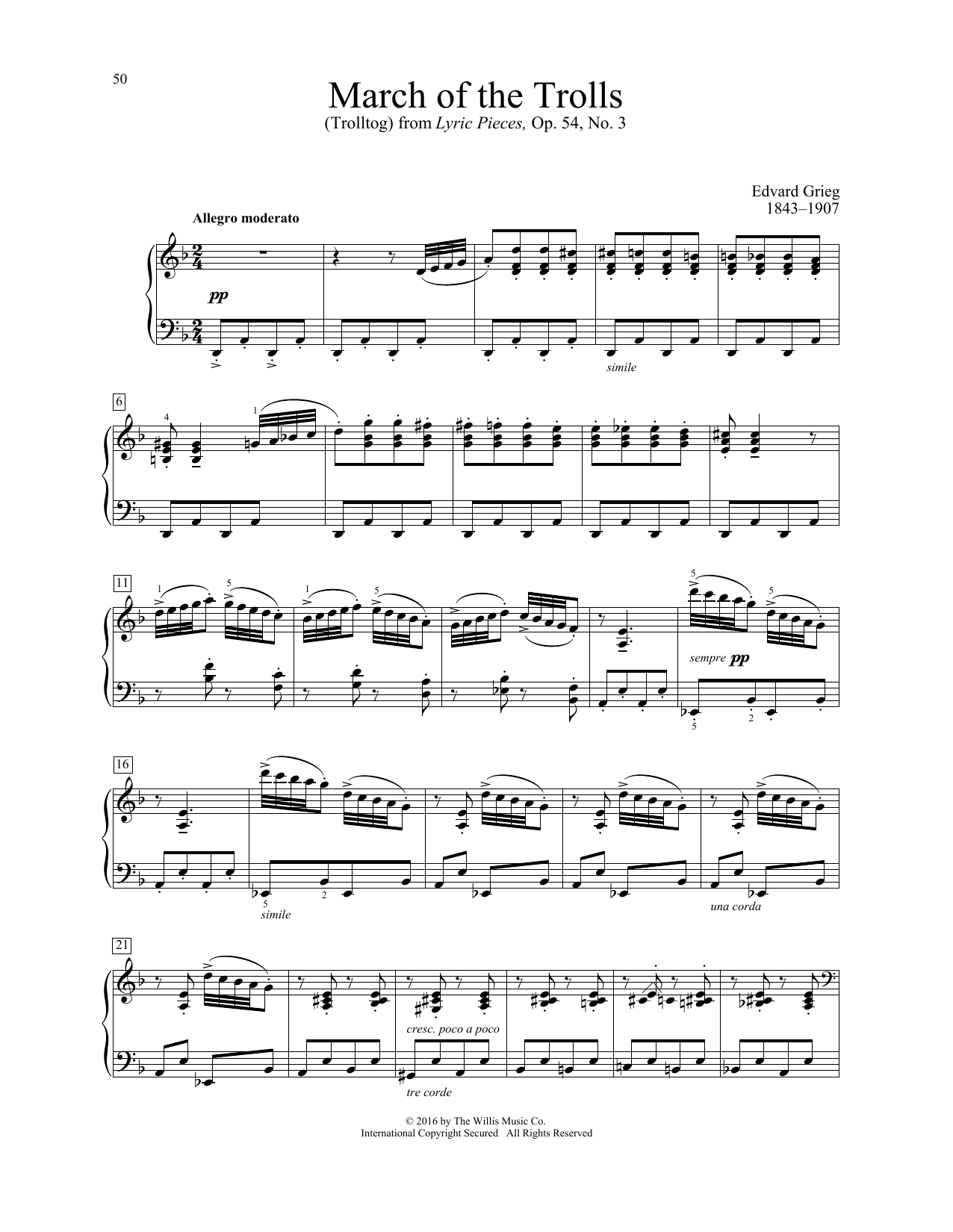 Edvard Grieg March Of The Trolls (Trolltog) sheet music notes and chords. Download Printable PDF.