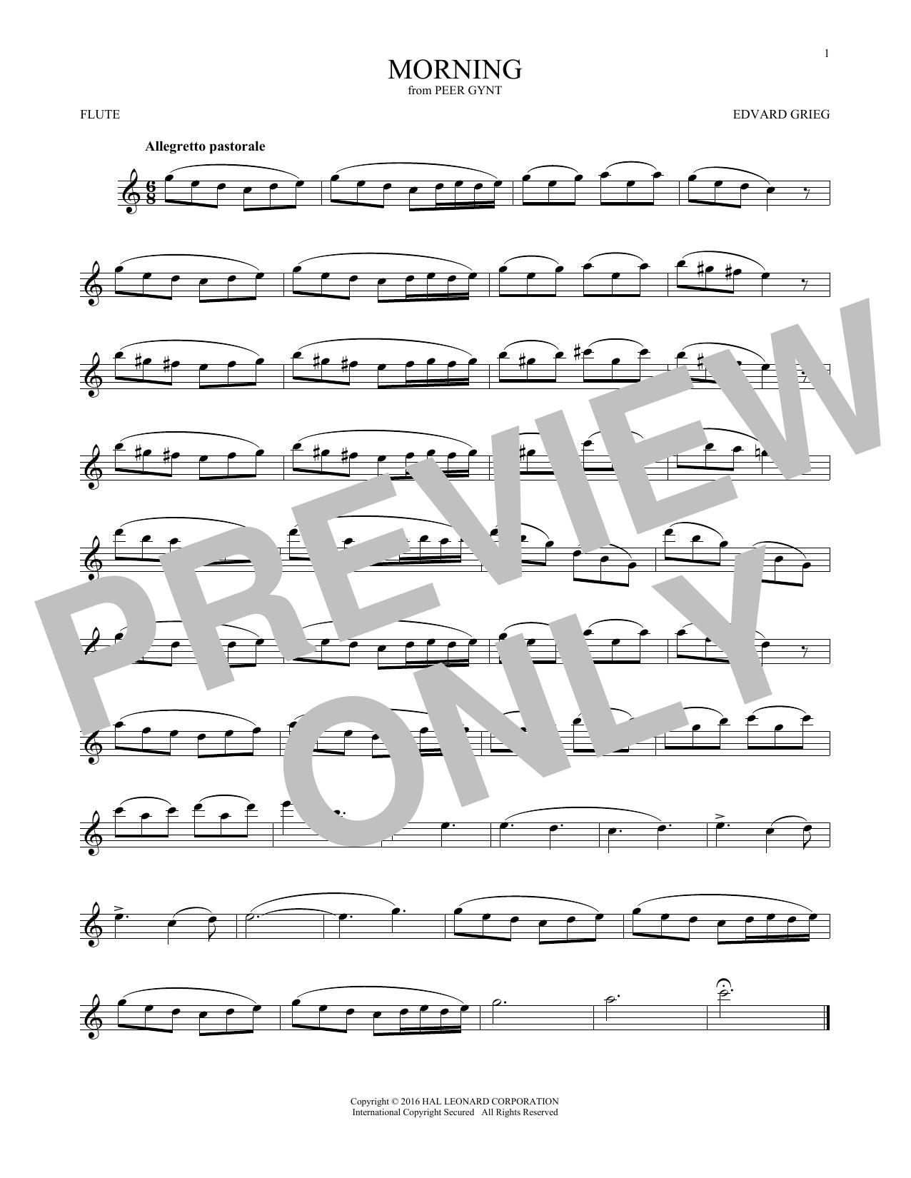 Edvard Grieg Morning sheet music notes and chords. Download Printable PDF.