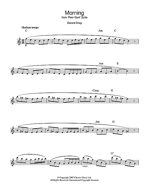 Edvard Grieg Morning (from Peer Gynt Suite No.1) sheet music notes and chords. Download Printable PDF.