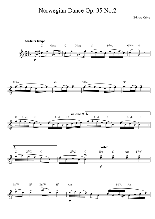 Edvard Grieg Norwegian Dance No. 2 Op. 35 sheet music notes and chords. Download Printable PDF.