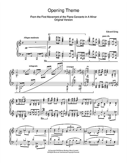 Edvard Grieg Opening Theme from Piano Concerto in A Minor sheet music notes and chords. Download Printable PDF.