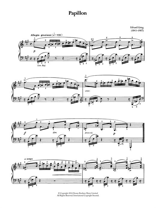 Edvard Grieg Papillon sheet music notes and chords