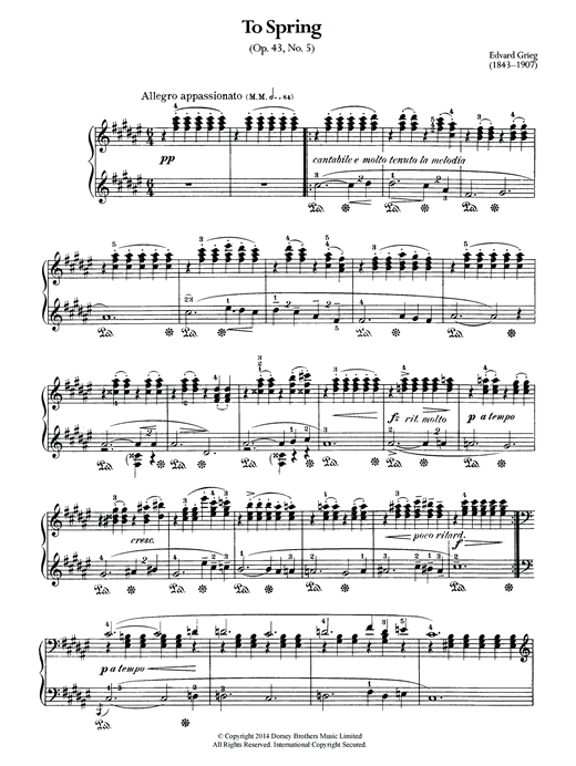 Edvard Grieg To Spring, Op.43 No.5 sheet music notes and chords. Download Printable PDF.