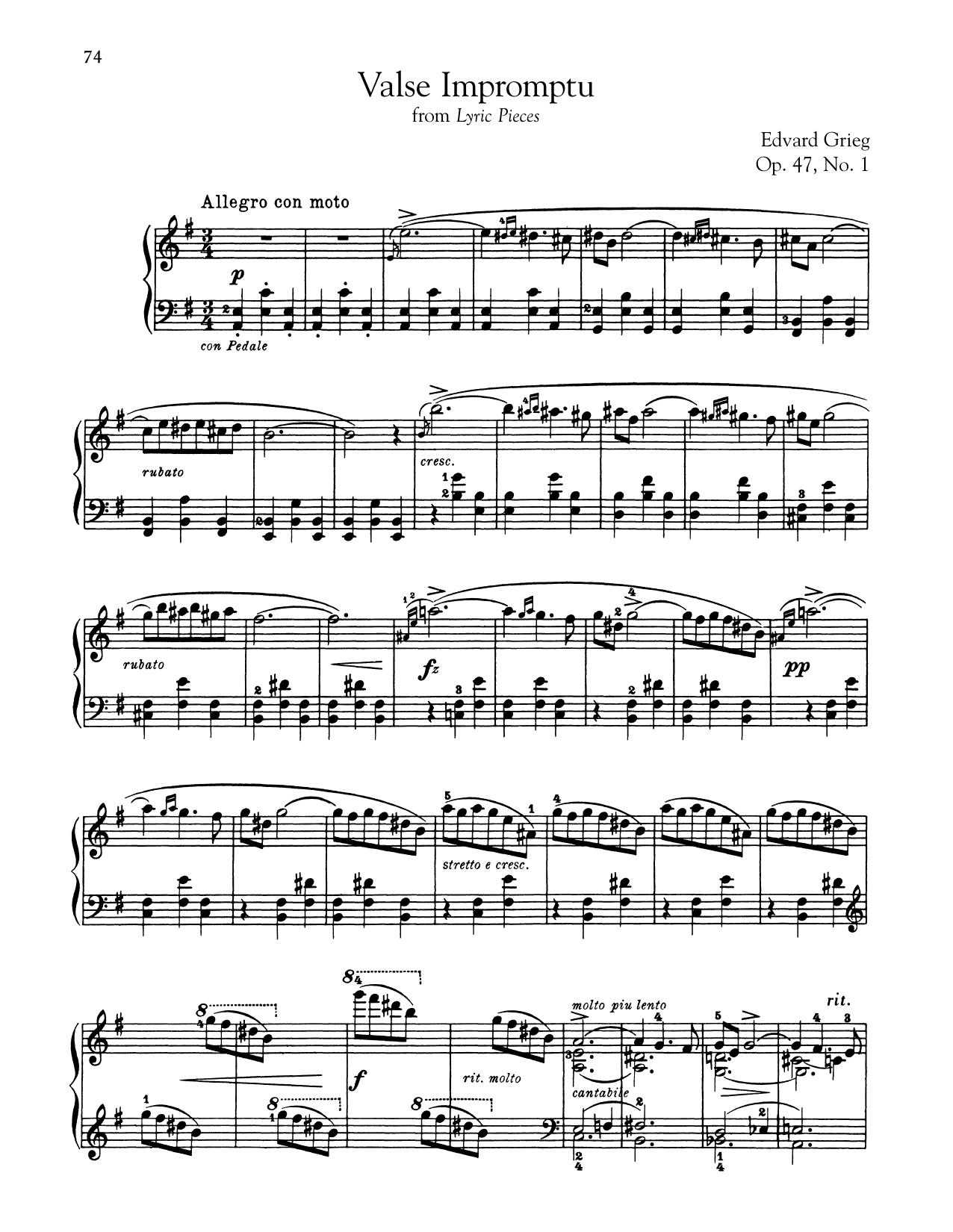 Edvard Grieg Valse Impromptu, Op. 47, No. 1 sheet music notes and chords. Download Printable PDF.