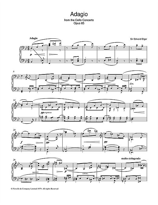 Edward Elgar Adagio From The Cello Concerto Opus 85 sheet music notes and chords. Download Printable PDF.