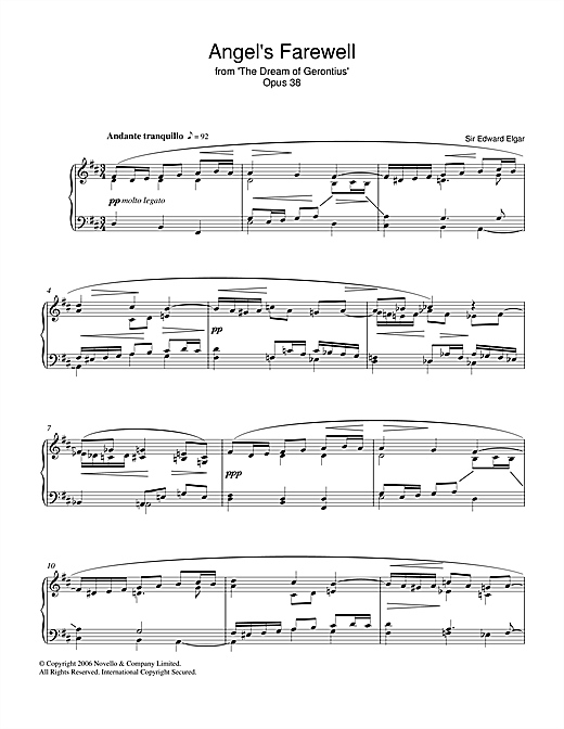 Edward Elgar Angel's Farewell From The Dream Of Gerontius Op.38 sheet music notes and chords
