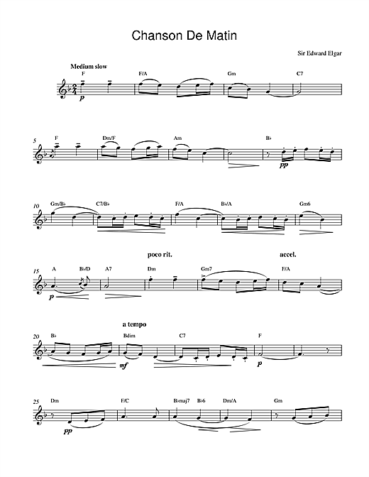 Edward Elgar Chanson De Matin Opus 15, No. 2 sheet music notes and chords. Download Printable PDF.