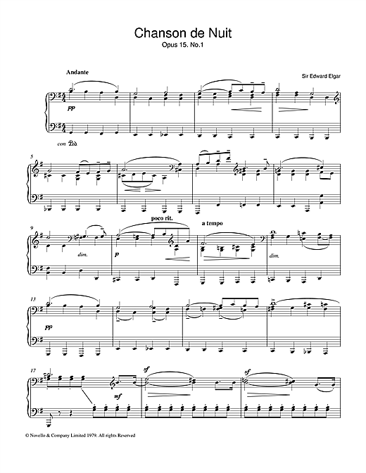 Edward Elgar Chanson De Nuit Op.15, No.1 sheet music notes and chords. Download Printable PDF.