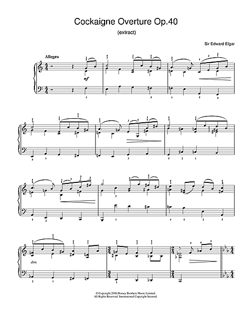 Edward Elgar Cockaigne Overture Op.40 sheet music notes and chords. Download Printable PDF.