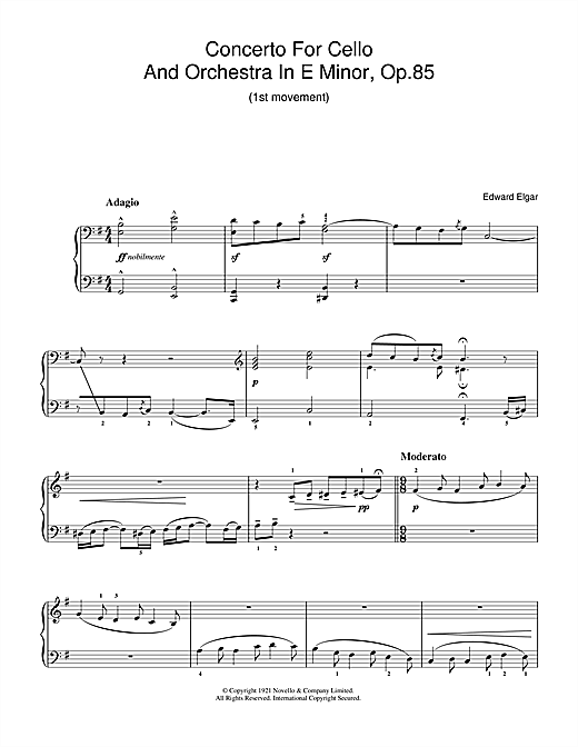 Edward Elgar Concerto For Cello And Orchestra In E Minor, Op.85 sheet music notes and chords