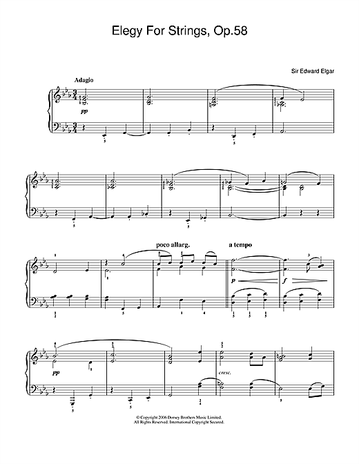 Edward Elgar Elegy For Strings, Op.58 sheet music notes and chords. Download Printable PDF.
