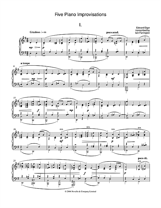 Edward Elgar Five Piano Improvisations: 1. Grazioso sheet music notes and chords. Download Printable PDF.