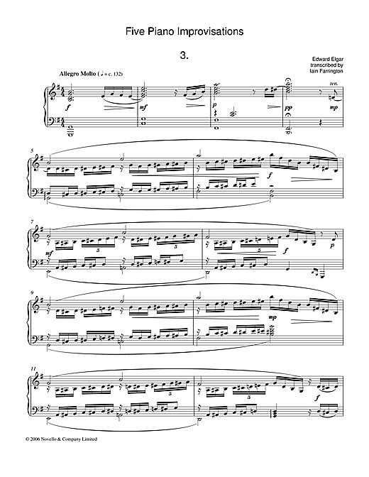 Edward Elgar Five Piano Improvisations: 3. Allegro Molto sheet music notes and chords. Download Printable PDF.