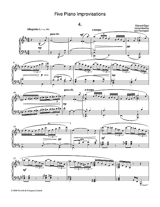 Edward Elgar Five Piano Improvisations: 4. Allegretto sheet music notes and chords. Download Printable PDF.