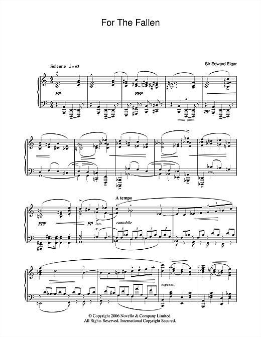 Edward Elgar For The Fallen from The Spirit Of England Op. 80 sheet music notes and chords. Download Printable PDF.