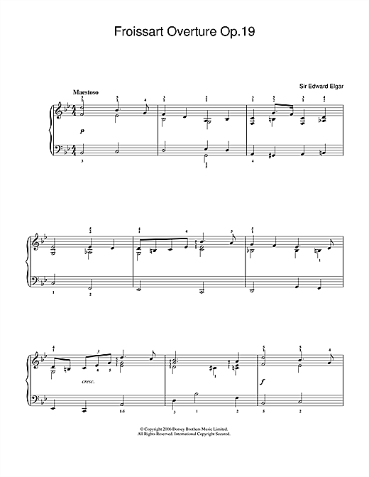 Edward Elgar Froissart Overture Op.19 sheet music notes and chords. Download Printable PDF.