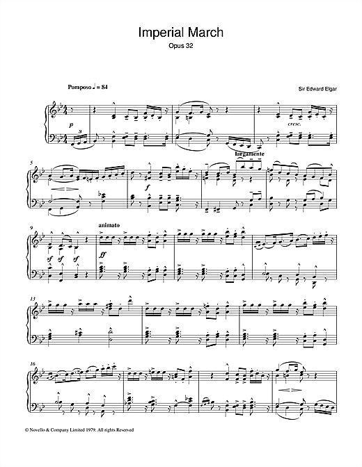 Edward Elgar Imperial March Op. 32 sheet music notes and chords. Download Printable PDF.