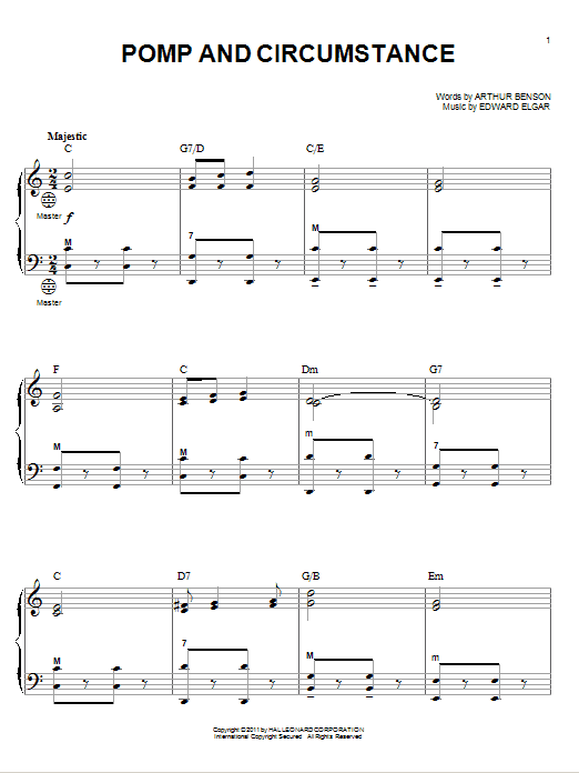 Edward Elgar Pomp And Circumstance sheet music notes and chords. Download Printable PDF.