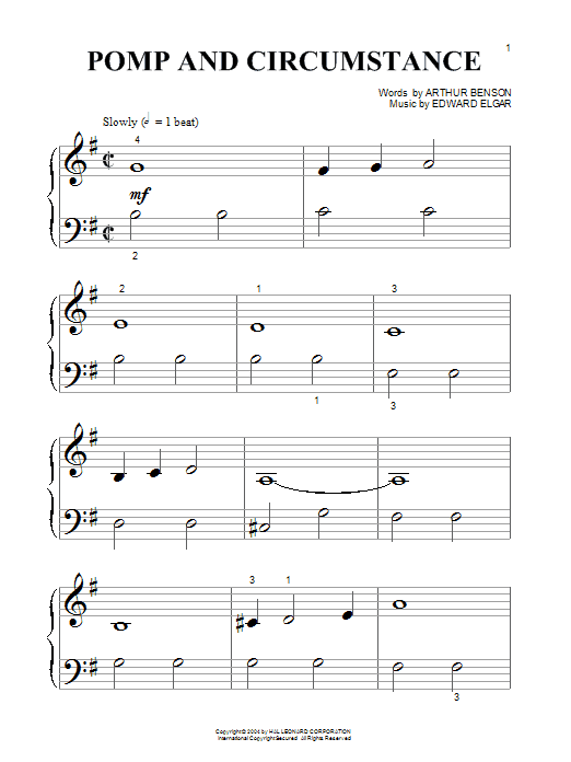 Edward Elgar Pomp And Circumstance March No.1 sheet music notes and chords