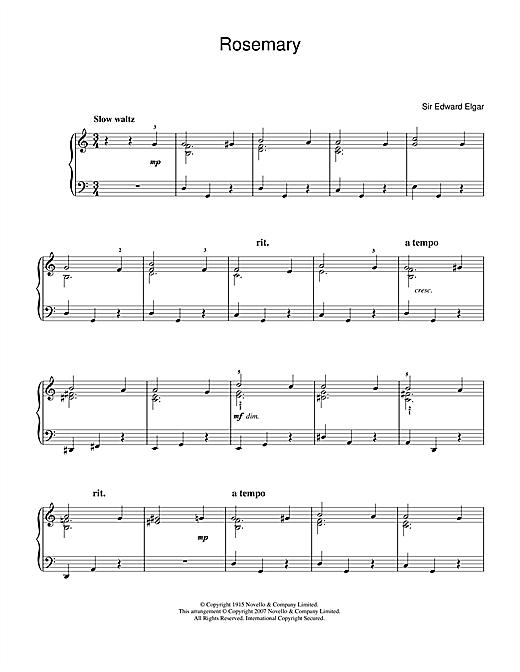 Edward Elgar Rosemary sheet music notes and chords. Download Printable PDF.
