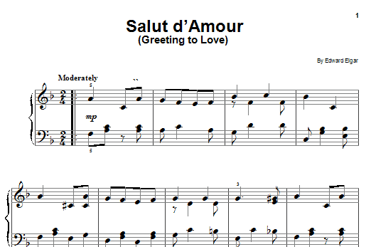 Edward Elgar Salut D'Amour sheet music notes and chords