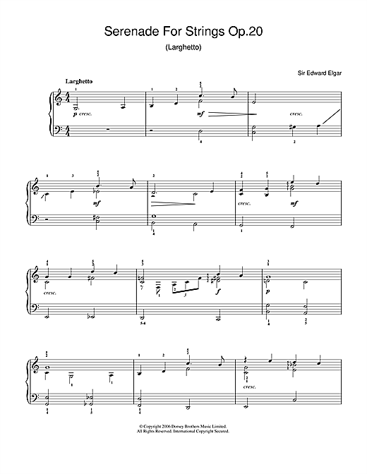 Edward Elgar Serenade For Strings Op.20 (Larghetto) sheet music notes and chords. Download Printable PDF.