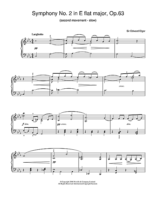 Edward Elgar Symphony No.2 In E Flat Major, Op.63 (2nd Movement - slow) sheet music notes and chords. Download Printable PDF.