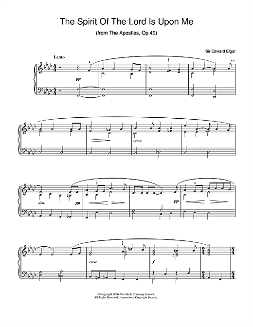Edward Elgar The Spirit Of The Lord Is Upon Me (from The Apostles, Op.49) sheet music notes and chords. Download Printable PDF.