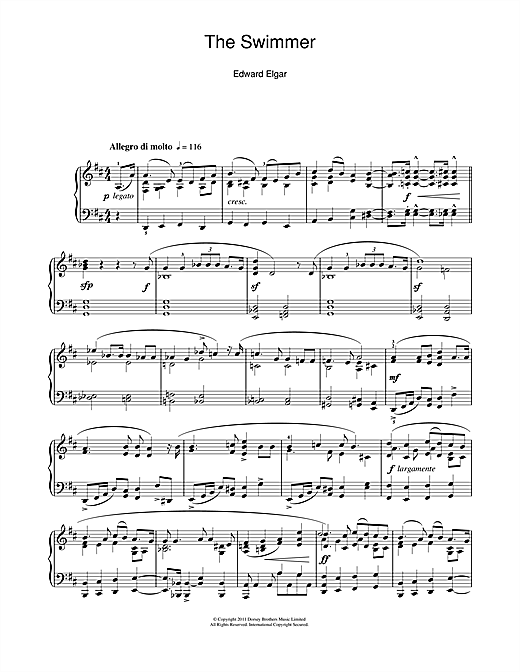 Edward Elgar The Swimmer (Sea Pictures Op. 37 No. 5) sheet music notes and chords. Download Printable PDF.