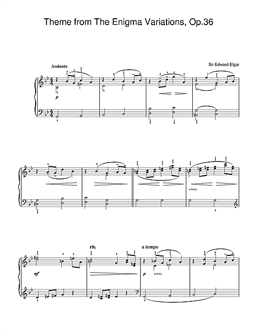 Edward Elgar Theme from Enigma Variations, Op.36 sheet music notes and chords. Download Printable PDF.