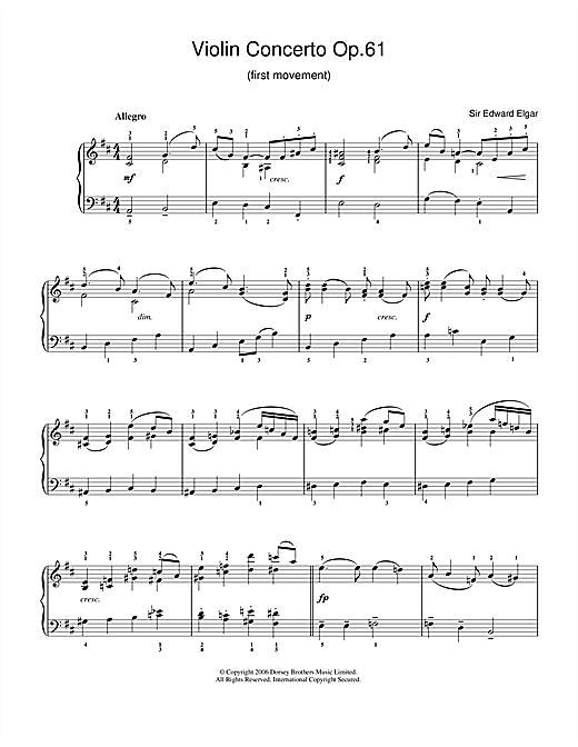 Edward Elgar Violin Concerto Op.61 (1st Movement) sheet music notes and chords. Download Printable PDF.