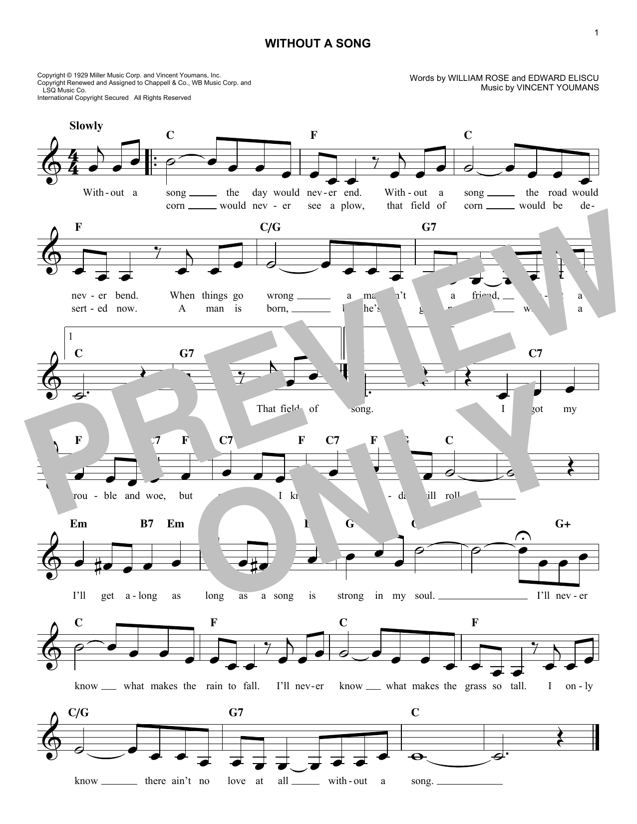 Edward Eliscu Without A Song sheet music notes and chords. Download Printable PDF.