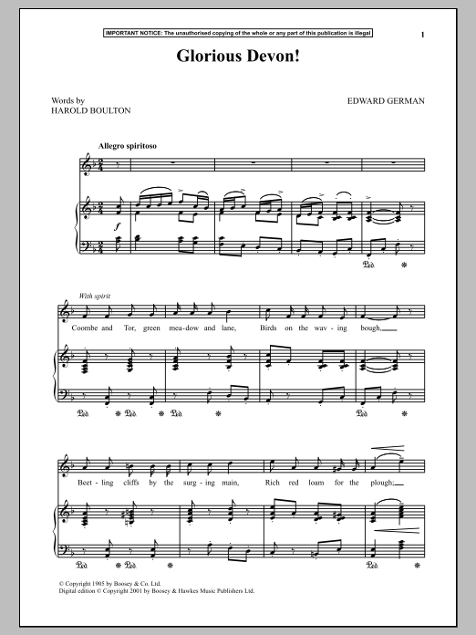 Edward German Glorious Devon sheet music notes and chords