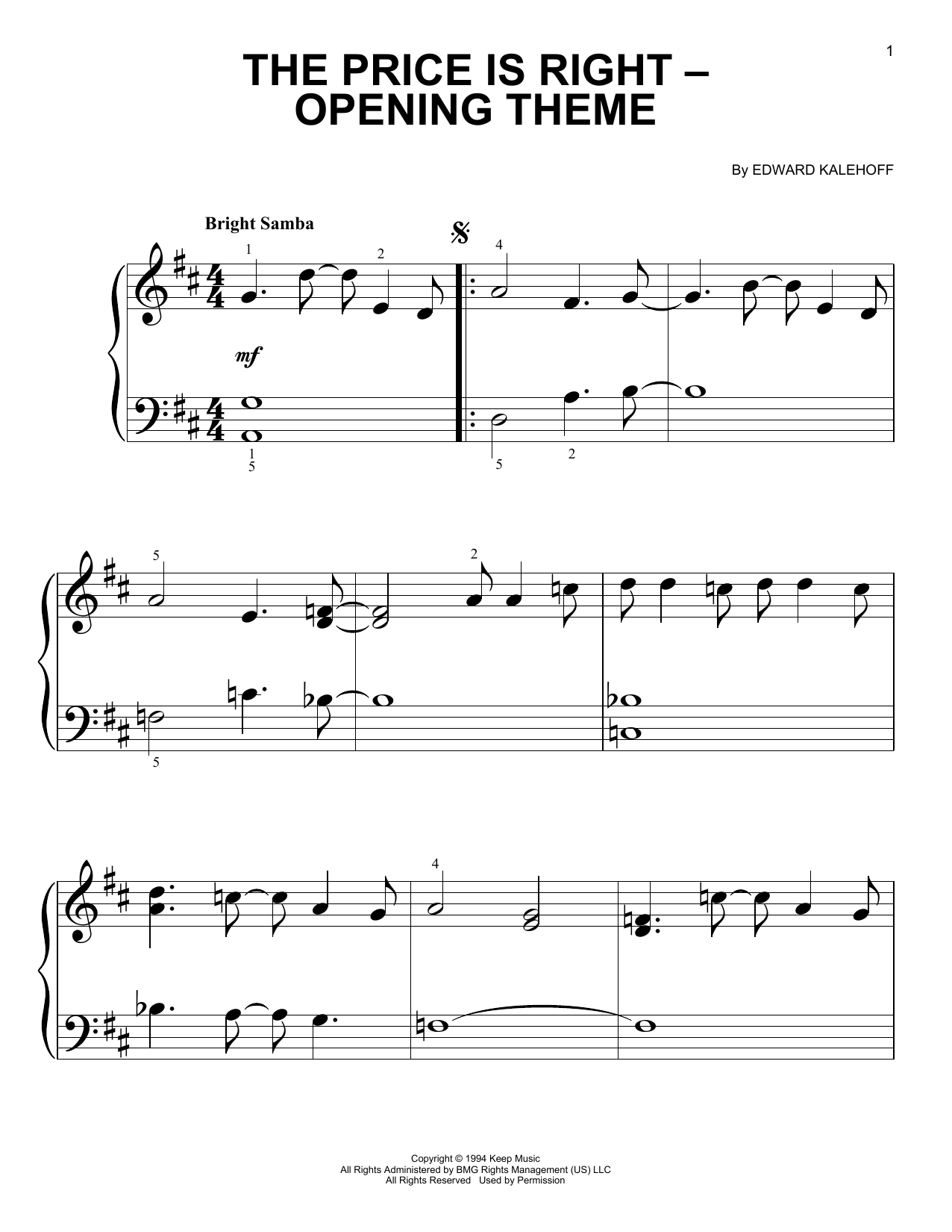 Edward Kalehoff Price Is Right - Opening Theme sheet music notes and chords