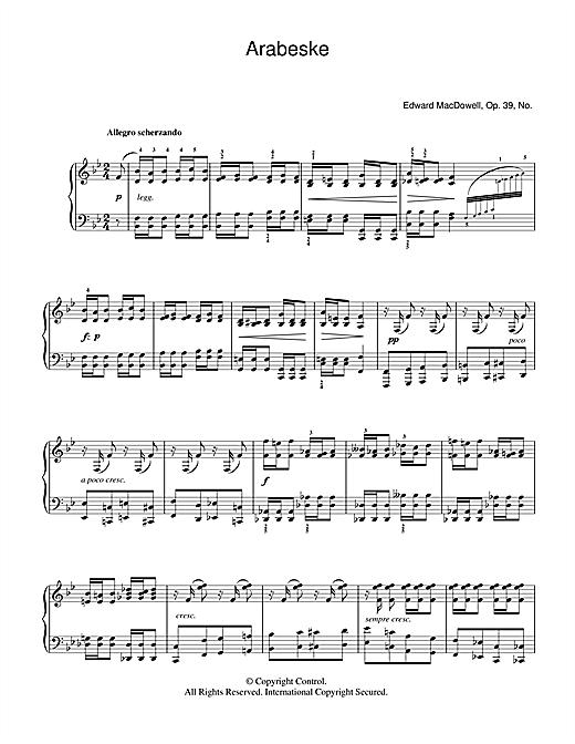 Edward MacDowell Arabeske sheet music notes and chords