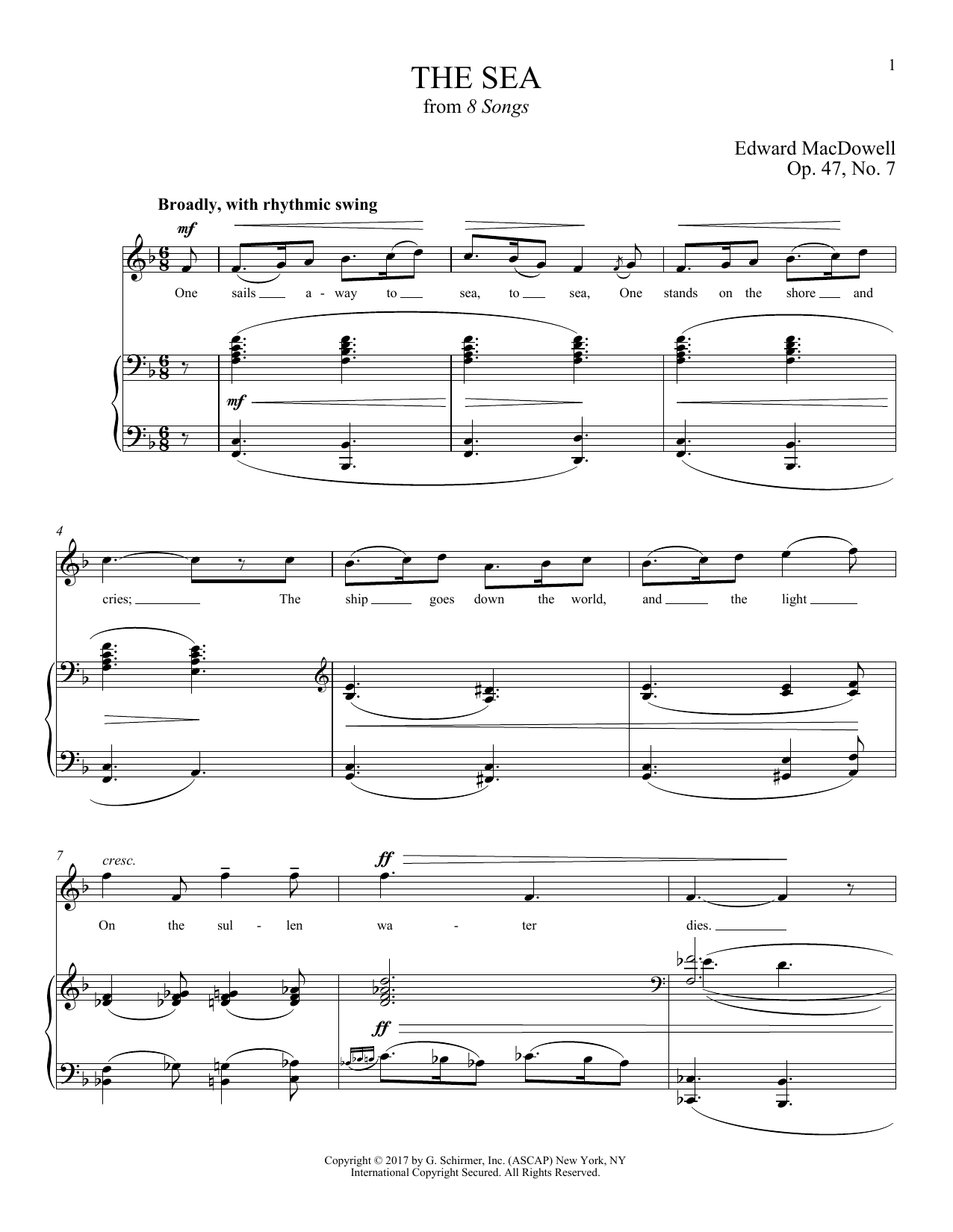 Edward MacDowell The Sea sheet music notes and chords. Download Printable PDF.