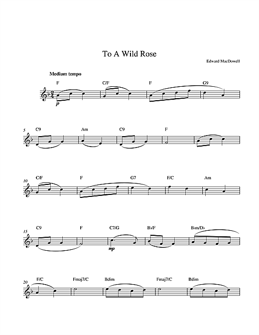 Edward MacDowell To A Wild Rose sheet music notes and chords. Download Printable PDF.