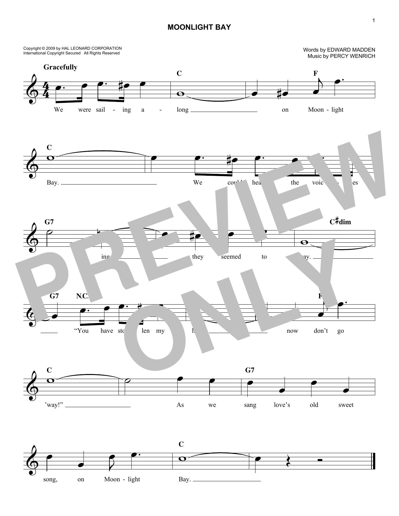 Edward Madden Moonlight Bay sheet music notes and chords. Download Printable PDF.