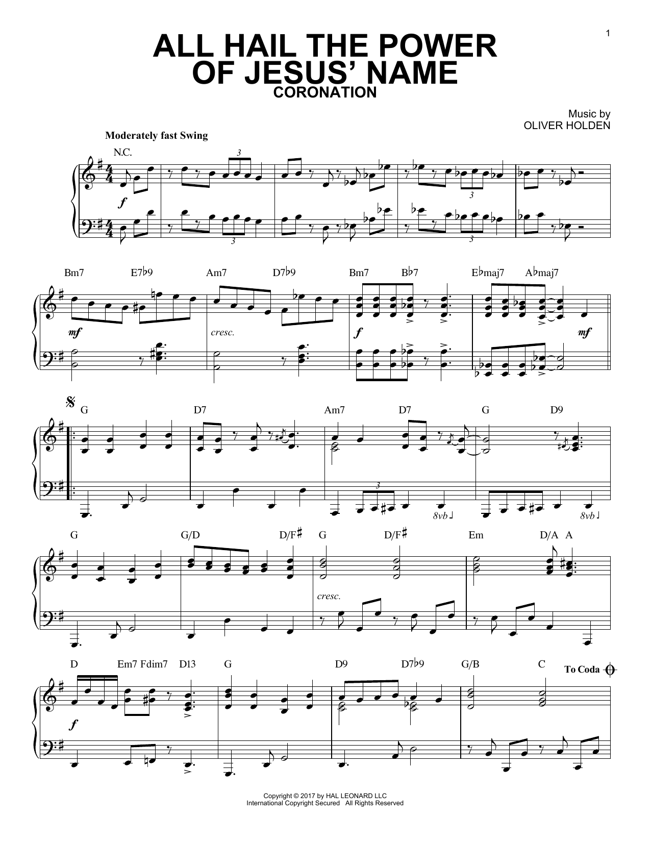 Edward Perronet All Hail The Power Of Jesus' Name [Jazz version] sheet music notes and chords. Download Printable PDF.