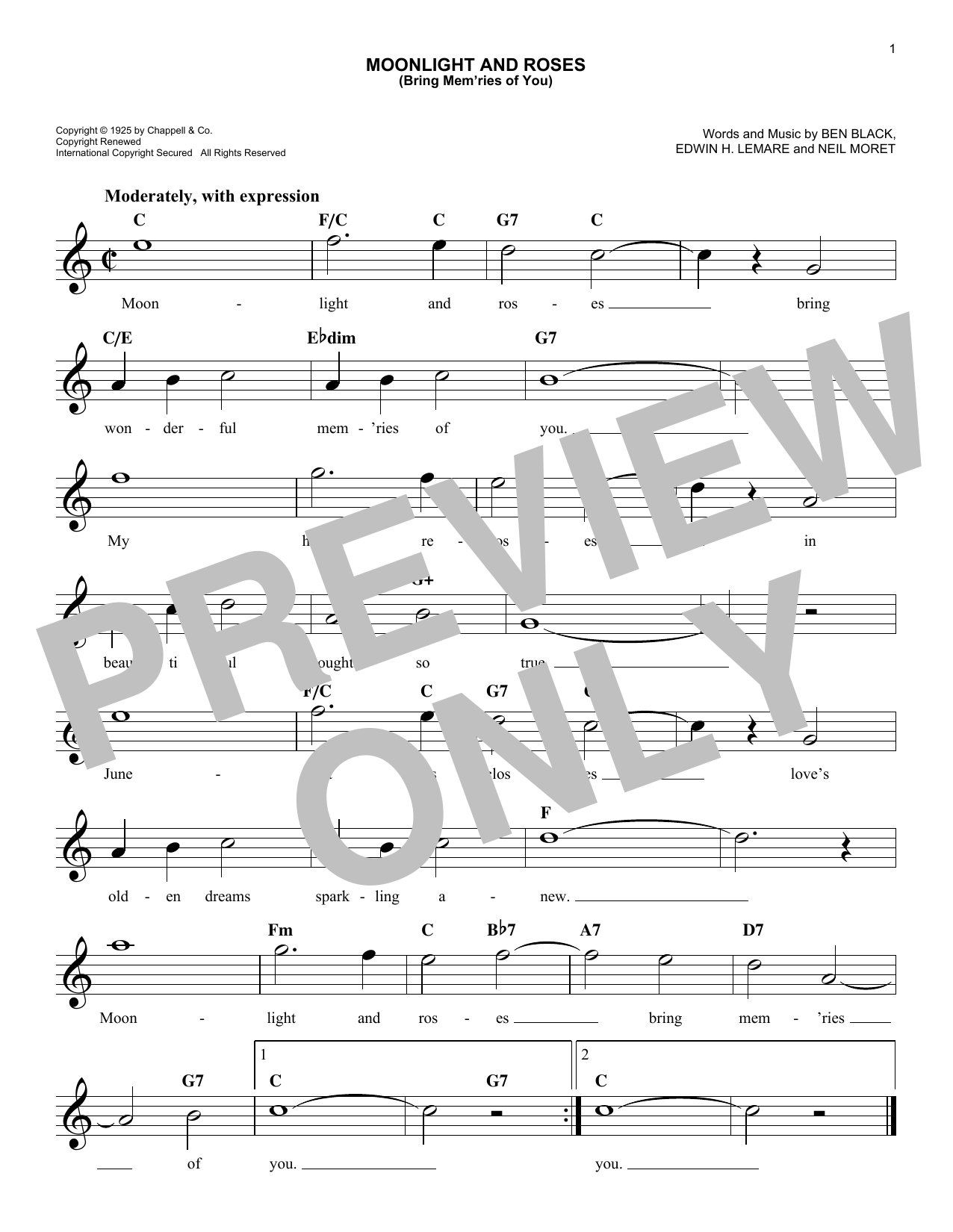 Edwin Lemare Moonlight And Roses (Bring Mem'ries Of You) sheet music notes and chords. Download Printable PDF.