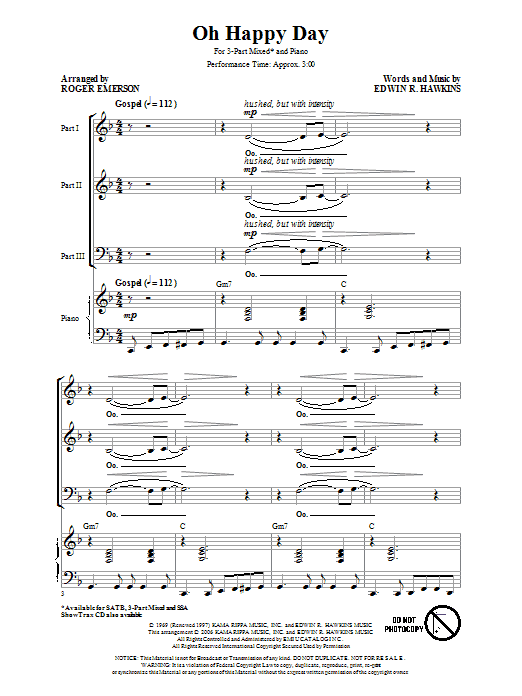 Edwin R. Hawkins Oh Happy Day (arr. Roger Emerson) sheet music notes and chords. Download Printable PDF.