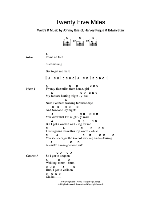 Edwin Starr Twenty Five Miles sheet music notes and chords. Download Printable PDF.