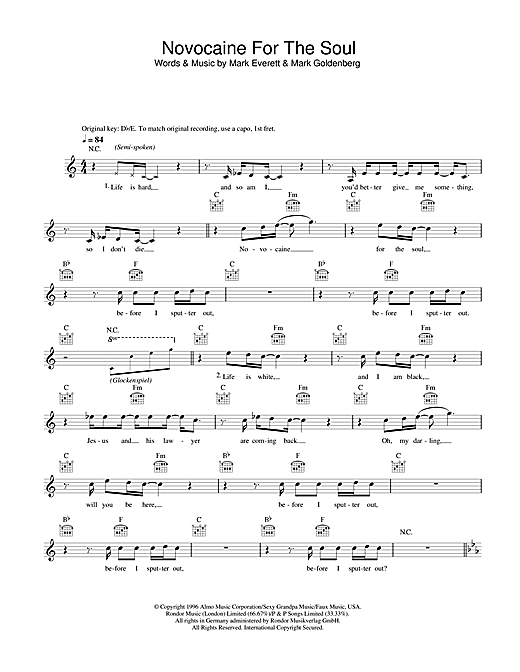Eels Novocaine For The Soul sheet music notes and chords. Download Printable PDF.