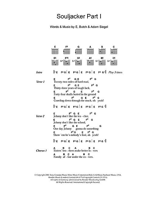 Eels Souljacker Part I sheet music notes and chords. Download Printable PDF.