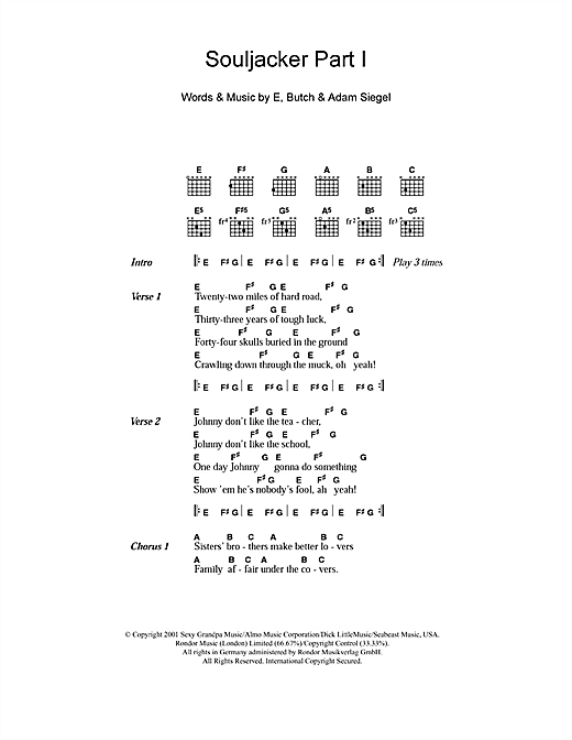 Eels Souljacker Part I Sheet Music Pdf Notes Chords Rock Score Guitar Chords Lyrics Download Printable Sku 107814