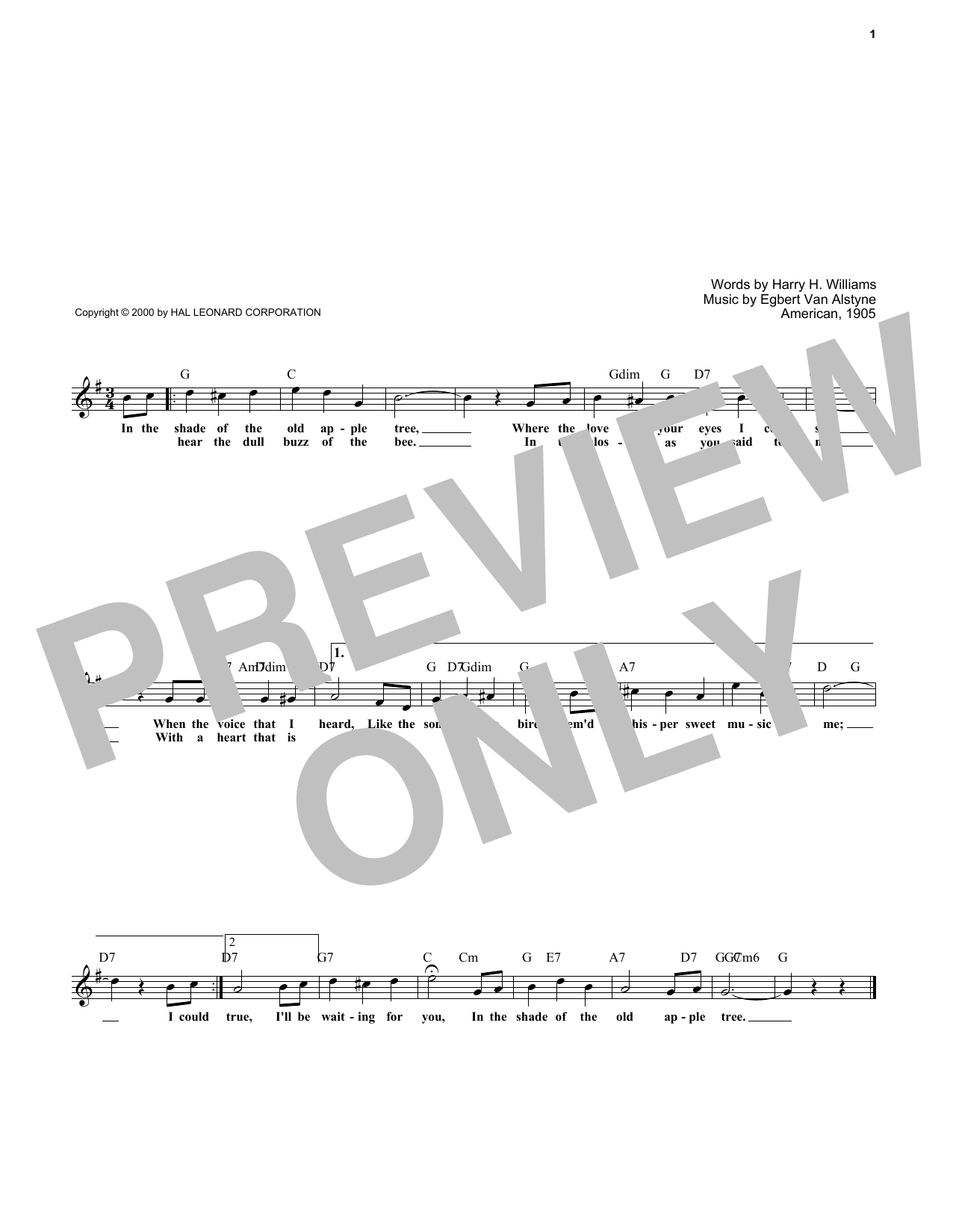 Egbert Van Alstyne In The Shade Of The Old Apple Tree sheet music notes and chords. Download Printable PDF.